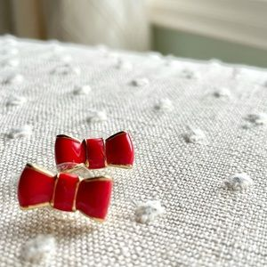 Kate Spade Red and Gold Bow Studs
